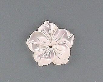 15mm white carved shell flower gem stone gemstone