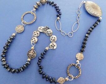 Long Navy blue Necklace