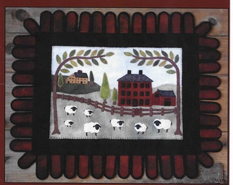 North Cat-Olina Quilts, Red House Penny Rug, Wool Appliqué Pattern