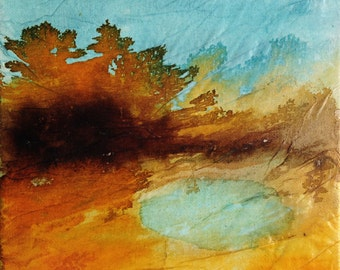 Original painting, landscape in orange and blue, ink and collage on canvas, abstract landscape