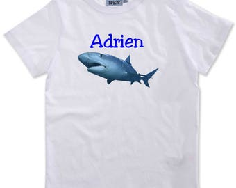 Boy shark personalized with name t-shirt