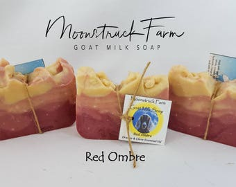 Red Ombre Goat Milk Soap