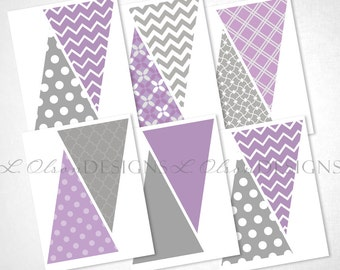 Purple and Gray Pennant Banner - DIY Printable - INSTANT DOWNLOAD