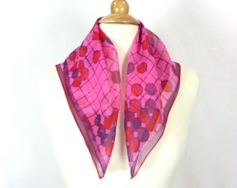 Sheer Pink Square Scarf // geometric print shawl scarf sheer polyester purple red patterned vintage 80s bandana hair wrap rockabilly scarf