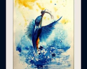 Original Painting - Kingfisher - unique - Size 30x40 cm
