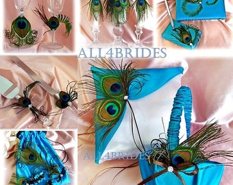 Peacock  wedding | turquoise | basket | pillow | garters | candles | guest book | cake set | glasses | wedding dance bag | 15pcs
