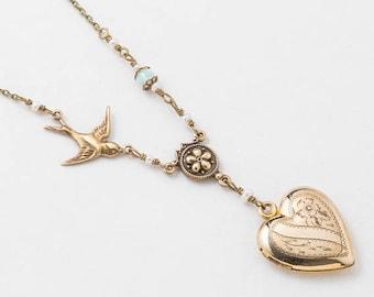 Médaillon coeur, collier en or remplie de véritable perle, opale blanche, breloque oiseau, feuille & gravure fleur, bijoux Vintage, cadeau