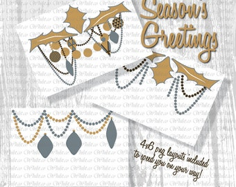 Christmas card clip art, Christmas clipart ornaments card layout Silver Gold Chocolate : h0501 3s434748