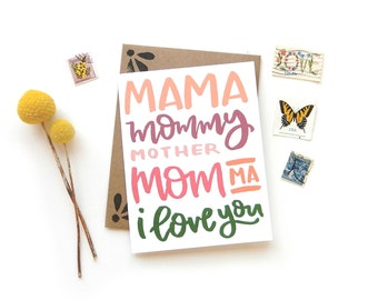 Mother's Day Love Card | Original Calligraphy Brush Lettering Mama Mom I Love You A2 Card