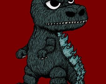 Mini Godzilla giclee print