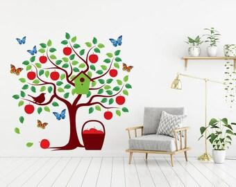 Tree Wall Decal, kid Room Decal tree, Wall Decal tree, Wall Sticker, tree apple, butterflies, Baby Nursery Decor, Wall Decor, peel and stick