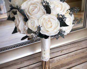 Ivory Rose Wedding bouquet, Rose bouquet, white roses, ivory roses, Simple wedding bouquet, Sola bouquet, Alternative bouquet