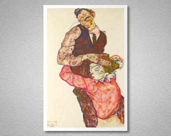 Lovers by Egon Schiele - Art Print - Poster Paper, Sticker or Canvas Print / Gift Idea
