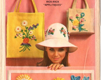 1966 Uncut Misses BAGS & HAT With APPLIQUES Pattern Simplicity #6430 Rick-Rack Flowers Transfers Vintage Totes Sewing