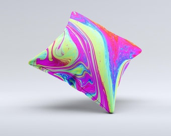 The Neon Color Fusion V11 ink-Fuzed Decorative Throw Pillow