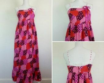 Vintage 70s Cotton Maxi Dress Prairie Patchwork Gingham Dress size M