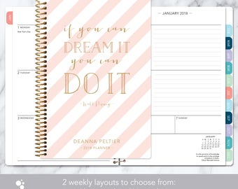 academic planner 2018-2019 calendar | weekly student planner add monthly tabs | personalized planner agenda | pink gold stripes quote