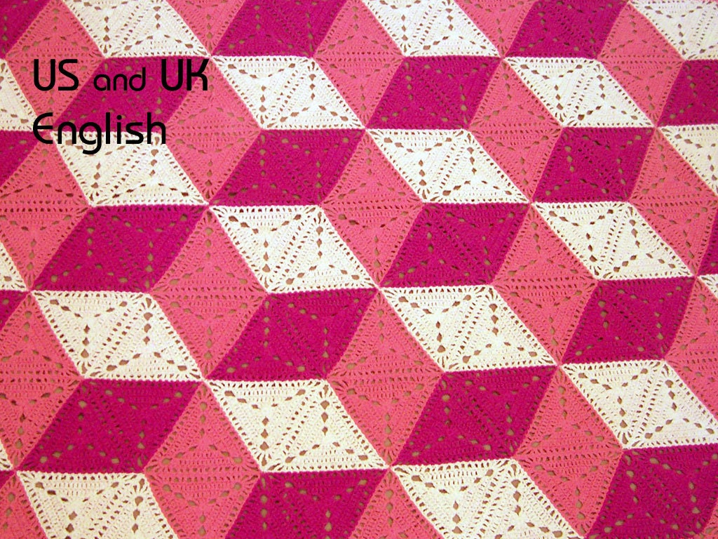3D illusion blanket Crochet Pattern. Stacked cubes, Optical illusion ...