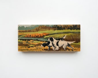 "Paint by Number Large  6"" x 14"" Art Block 'Hunting Dogs' - autumn, fall color, vintage landscape"