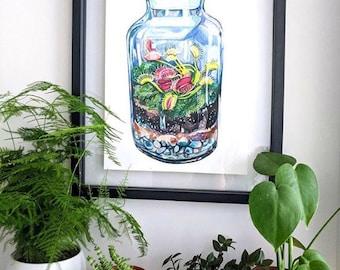 Venus Fly Trap Glass Terrarium Print
