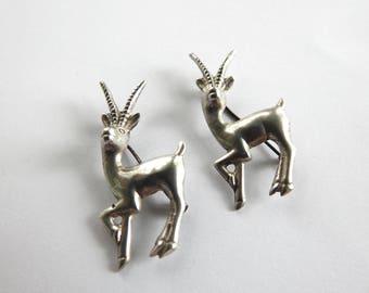 Antique Art Deco Sterling Pair of Impalas or Gazelles
