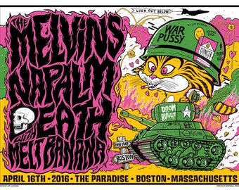 Melvins / Napalm Death hand printed silkscreen concert poster.