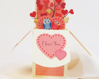 3D Pop Up Owl Card, I Love You Card, Romantic Owl Valentine's Day Card, Top Selling Card, Handmade With Love Card for Her, For Boyfriend