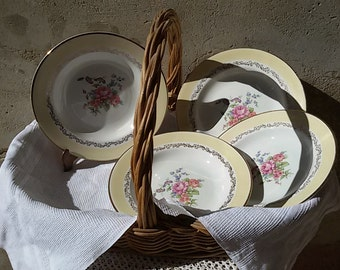 French 60's / 4 soup plates, soup décor of flowers / vintage french flat