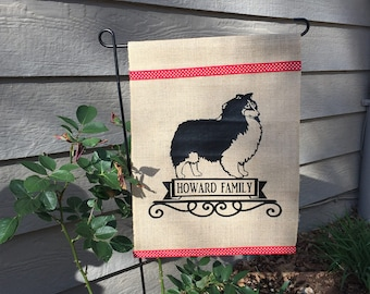 Sheltie/ Shetland Sheepdog/ Dog/ Garden Flag/ Burlap Garden Flag/ Wedding Gift/Housewarming Gift