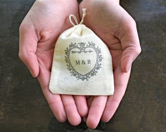 Personalized wedding ring bag, hand stamped cloth ring bag, ring pillow, ring bearer, ring warming, heart with initials, cotton ring bag