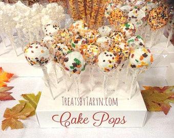Fall harvest cake pops. Fall cake pops. Autumn treats. Foliage cake pops. Thanksgiving treats. Thanksgiving cake pops. Thanksgiving favors