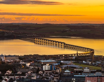 Tay Bridge Sunset Dundee from the Law hill