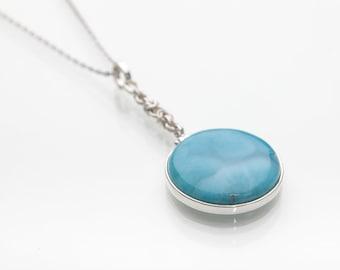 Larimar Pendant, Pulse, Handmade Larimar Jewels, Mined in the Dominican Republic