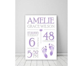 Custom Baby Birth Print Announcement Nursery Wall Art
