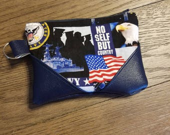 Navy zipper pouch