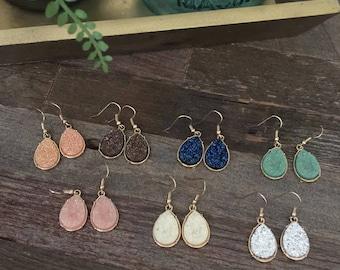 Druzy Drop Earrings - Dangle Earrings - Teardrop Druzy Earring - Druzy Earring - Druzy Earrings - Bridesmaid
