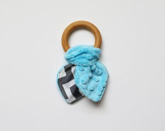 Easter basket stuffer for babies, wooden teething ring toy, krinkle toy, baby shower gift, gift for baby, turquoise and gray, krinkle toy