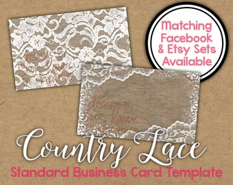 Lace Business Card - 2 sided Country Lace Business Card - Vista Print Business Card Template - Country Business Card - Country Lace