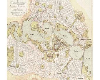 Vintage Style Poster | Vintage Map | Canberra Map | Vintage Print | Wall Art | Wall Decor | Canberra 1913 Map Reproduction