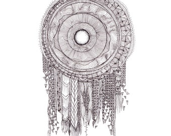 """Hand Drawn Coloring Page Titled """"Dream Embroidery"""""""