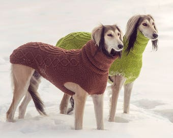 Hand-knit sighthound sweater 100% wool // custom made dog coat // winter dog sweater // saluki // italian greyhound // whippet