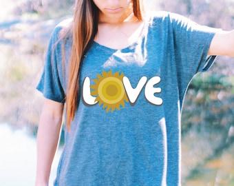 Love Shirt - FLOWY SHIRT - Women's Yoga Shirt - Yoga Shirt - Yoga Top - Yoga Tops - Graphic Yoga Shirt - Summer Yoga Shirt - Hot Yoga Shirt