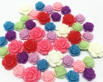 100pcs 10-19mm Resin Rose Flower Embellishments Cardmaking Scrapbooking Cabochons