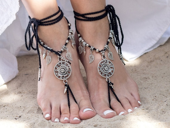 Black barefoot wedding jewelry Foot sandal Footless sandals Beaded anklet Beach sandals Soleless Bottomless sandals jewelry barefoot Gothic 4qwr4v