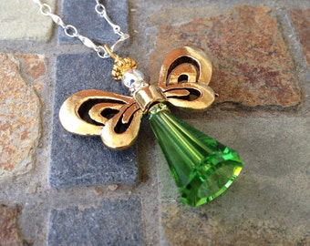 Gold and Green Angel Necklace