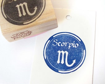 Zodiac Sign Stamp, Astrology Stamp, Hand Carved Rubber Stamp