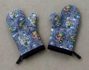 Legend of Zelda Oven Mitts and Pot Holders - Nerdy House Warming Gifts - Zelda Wedding Gift - Nerdy Wedding Gift - Zelda Kitchen Decor