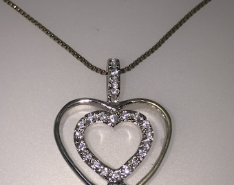 Sterling silver Heart shaped pendant set with cubic zirconias on a matching Italian Sterling silver chain