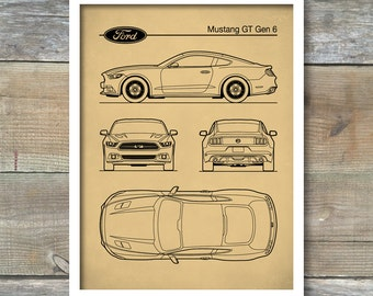 Auto Art Patent-Druck Ford Mustang Gen 1 Blaupause Ford