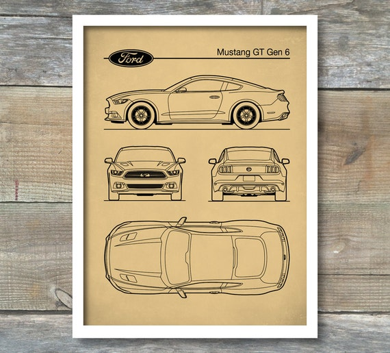 Patent-Print Auto Kunst Ford Mustang Blaupause Auto Kunst